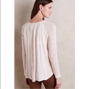 Anthropologie One September Feathered Lace Sweater